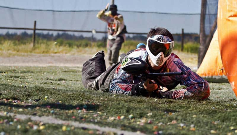 paintball player on the ground